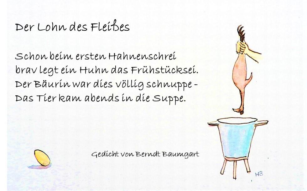 Illustriertes Gedicht von Berndt Baumgart . Der Lohn des Fleißes